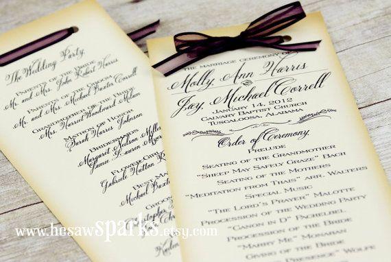 program: Ideas, Etsy, Wedding, Printable Diy, Program Printable, Ceremony Program, Vintage Inspiration, Vintage Ceremony, Printable Vintage