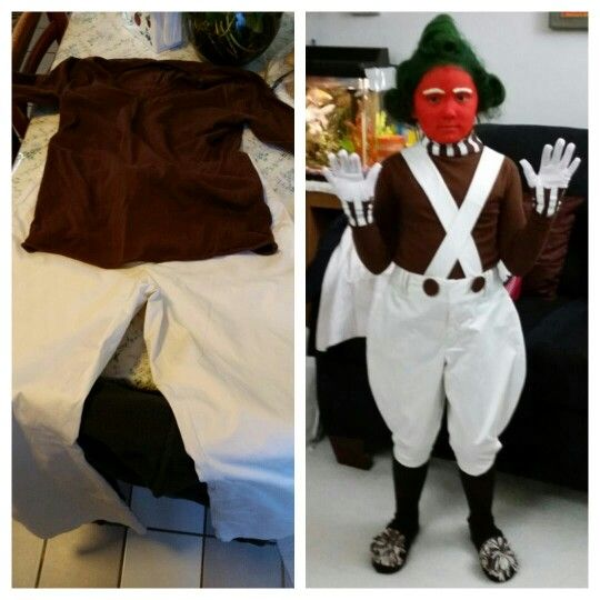 "From second hand store to Willy Wonka ""umpa lumpa"" costume."