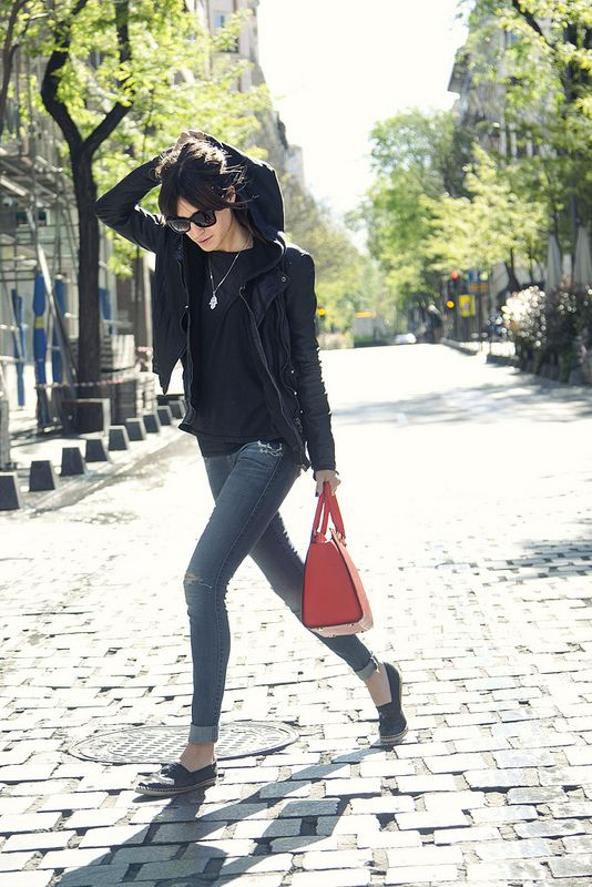 Gala Gonzalez // Zara jacket, Ragdoll sweater, Guess jeans, Jimmy Choo sunglasses, Michael Kors bag