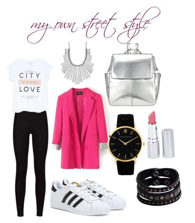 Street style for tomorrow by juliannacortes on Polyvore featuring polyvore, fashion, style, MANGO, adidas, Kin by John Lewis, Larsson & Jennings, Replay, Lucky Brand and HoneyBee Gardens