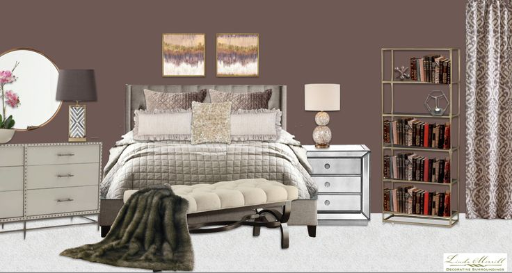 A luxe and glamorous bedroom for a virtual design client. Design and rendering by Linda Merrill. #virtual #design #edecor #edesign #luxe #glamorous #purple #pink #mirror #brass #tufted #headboard #fur #throw