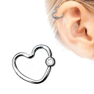 316L Stainless Steel Heart Captive Bead Ring with Clear CZ