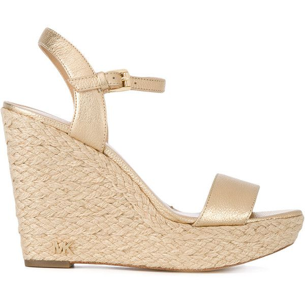 Michael Michael Kors Jill Wedge ($130) ❤ liked on Polyvore featuring shoes, sandals, gold, wedge sandals, leather wedge shoes, michael michael kors sandals, michael michael kors and genuine leather shoes