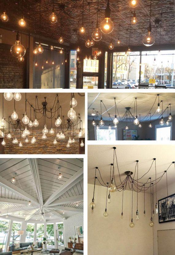 14 botín araña - iluminación moderna Unqiue luminaria colgante luz techo luz brillante LED bombilla Edison Incandescant alambre colorido