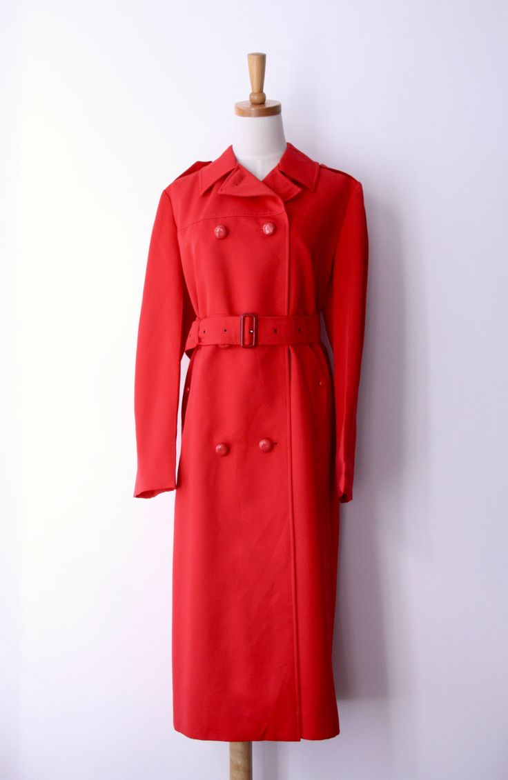 Vintage red rain coat. Bright red trench coat. 70s Bright rain coat. Red rain wear. Red Riding Hood. Twin Peaks coat. Skellerup NZ. Size L by ForestHillTradingCo on Etsy