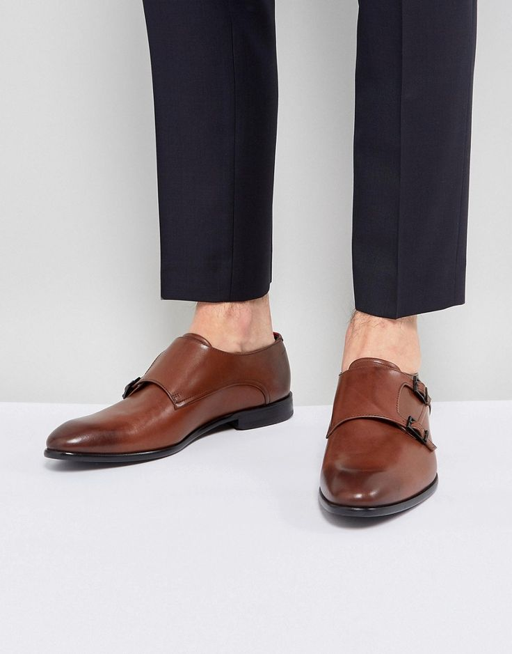 HUGO BY HUGO BOSS DRESSAPP BURNISHED CALF LEATHER DOUBLE STRAP MONK SHOES IN BROWN - BLACK. #hugo #shoes #