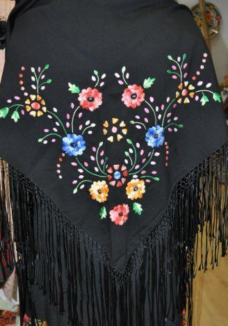 Xailes : Xailes bordados à mão preto/cores