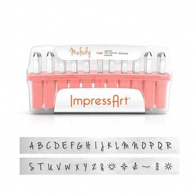 3mm ImpressArt Melody Uppercase Metal Stamp Set ImpressArt Alphabet Letter Metal Punch Set - Melody Upper Case x 3mm  Leave a lasting impression on your artwork!  These metal stamps are designed with the jewellery maker in mind. They are precision-cut from hardened steel and will last project after project.