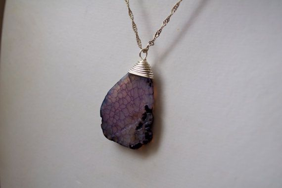 Wire Wrapped Purple Stone Necklace by dgowin on Etsy, $29.00
