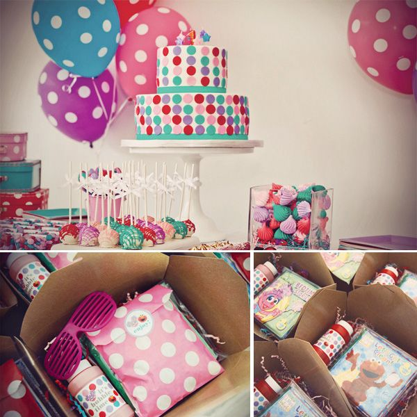 This is for Maggie... Maybe Maylee's bday this year?? Abby  Elmo Birthday Party {and adorable polka dot cake} Favors