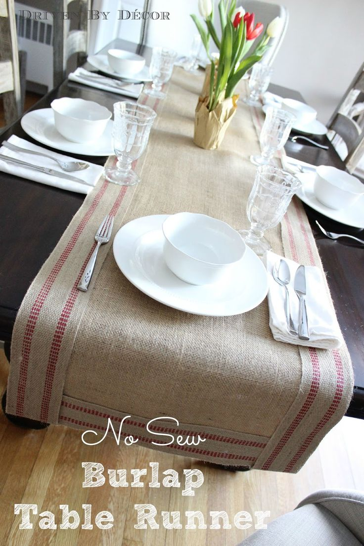 A Simple Way To Create A Bordered Burlap Table Runner   No Sewing Needed!