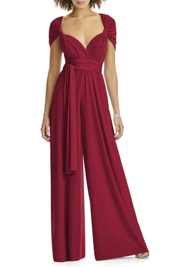 Free shipping and returns on Dessy Collection Convertible Wide Leg Jersey Jumpsuit (Regular & Plus) at Nordstrom.com. A silky matte-jersey jumpsuit with dramatically billowed legs lets any bridesmaid or partygoer change up her look, thanks to a pleated surplice bodice with long tails to twist, halter-tie or wrap over the shoulders in a variety of ways. An open back adds to the flirt factor.
