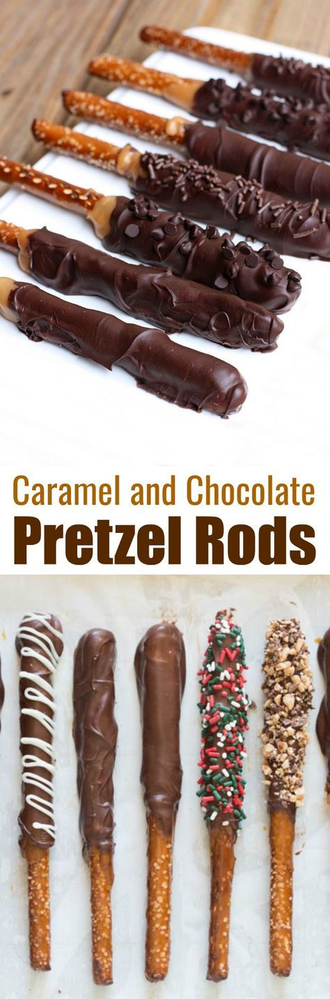 Caramel and Chocolate Dipped Pretzel Rods make the BEST holiday treat and gift for neighbors, teachers and friends at Christmas or any time of year! Made with homemade caramel, semi-sweet chocolate and your favorite toppings. | tastesbetterfromscratch.com