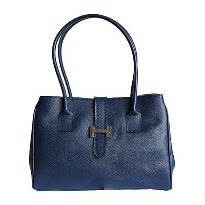 H-Lock Italian Navy Leather Shoulder Bag - Down to £49.99 from £59.99