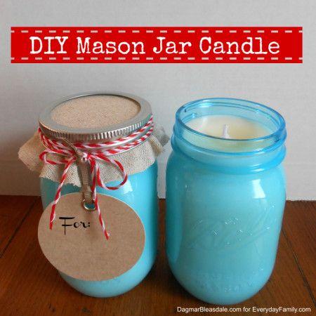 How to make DIY mason jar candle (tutorial), plus other handmade teacher gifts on Dagmar's Home, DagmarBleasdale.com.