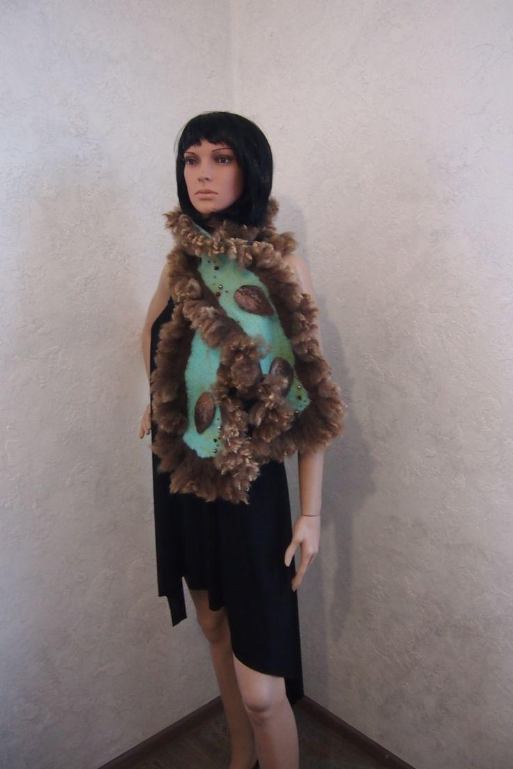 Felted wool scarf-Nuno felted scarf-Real fur scarf-brown-Ready to ship #felted#wool#scarf