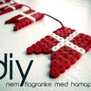 Danish flag bunting made with hama beads