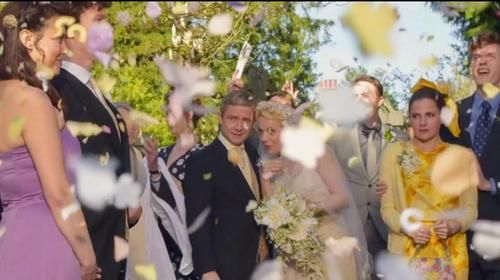 "Can we take a minute to analyze this cap?      We've got Janine and Sherlock posing for their pictures.      Mary like ""oh look aren't they adorable?"" and John's ""If you say so, dear.""      Tom's all ""holy crap look at all that confetti it's a fucking parade over here.""      And then there's Molly. ""Get your filthy whore hands off my Sherlock you lascivious lavender bitch.""  <--- THAT. COMMENT. OMH."