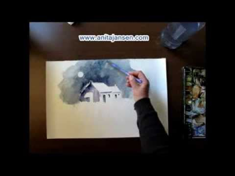 "Watercolor demo  aquarelle  ""A snowy day"" Une journée de neige"