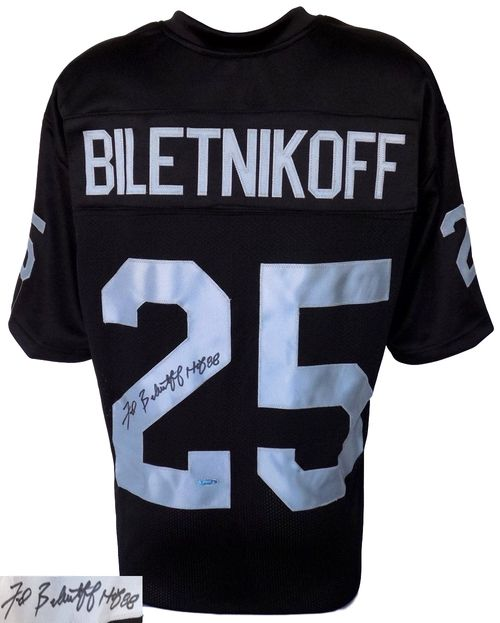 Fred Biletnikoff Signed Custom Black Football Jersey HOF Insc. Tristar