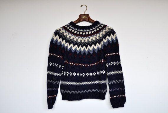 Vintage Handarbeit isländische Pullover Alpine Pullover