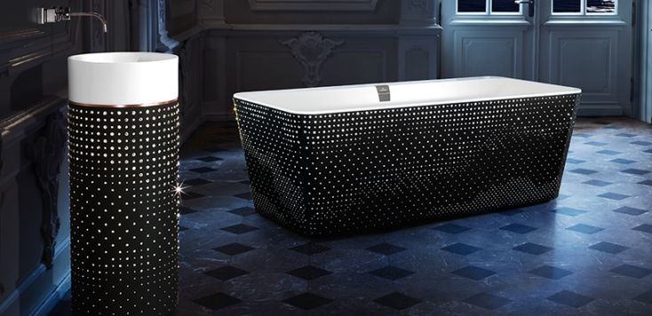 Add Sparkle To Bathroom With Villeroy & Boch's Swarovski crystal-studded Washbasin And Bathtub - Pursuitist