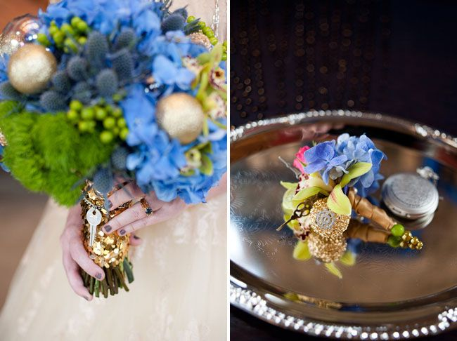 Doctor Who Styled Wedding Inspiration - Key to the Tardis and pocketwatch, nice touches.