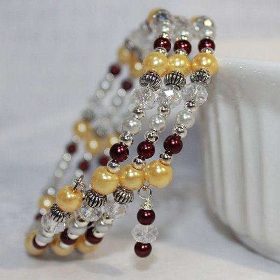 Memory Wire Beaded Bracelet Wrist Wrap Glass Beads and Glass Pearls Burgendy and Almond Womens Jewelry