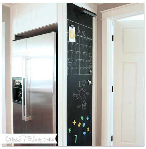 Chalkboard wall on the other side of the fridge - if we ever add upper cabinets to the kitchen