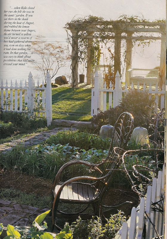 """The Aunt's garden in lush with every herb imaginable. On the last day of filming, just before the house and it's greenery were to be dismantled, Robin [Standefer, Production Designer] picked the lettuce and made herself a celebratory salad."" Victoria Magazine, October 1998."