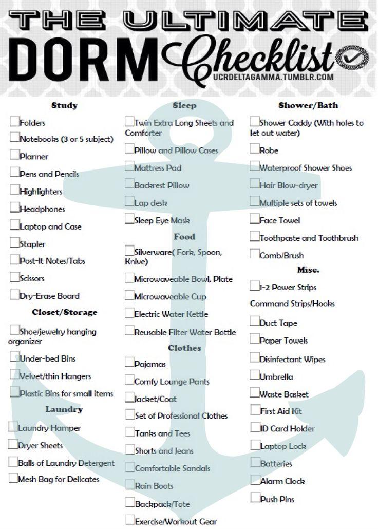List For Dorm Room