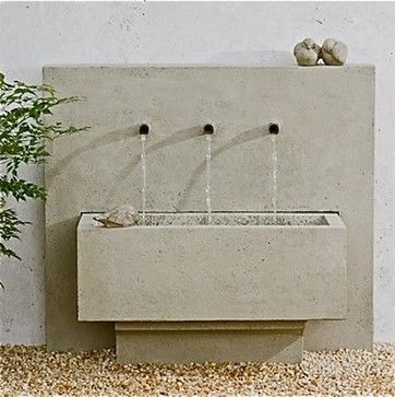 """Times Three Fountain $1,150.00 Made of cast stone in a gently aged finish called Garden Stone. Measures 36"""" x 16.5"""" x 32"""" high. Includes fountain pump. — Sold By Potted, Los Angeles"""