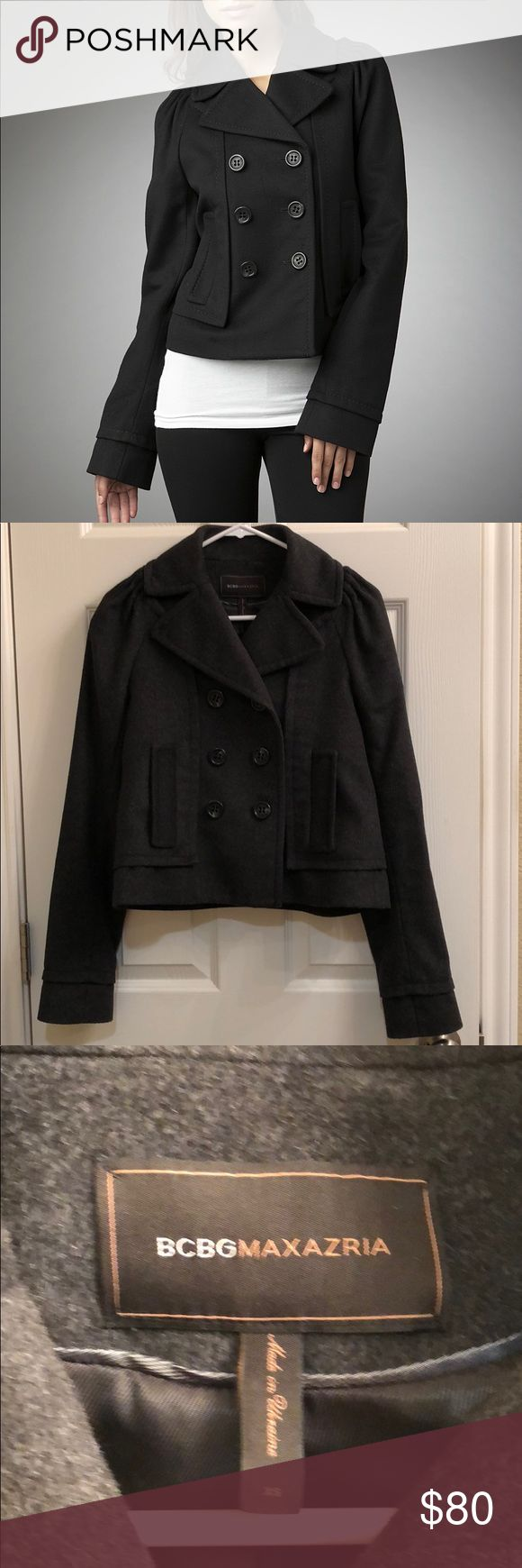Double Breasted Wool Coat In excellent condition. Absolutely no wear. Color is dark grey. BCBGMaxAzria Jackets & Coats Pea Coats