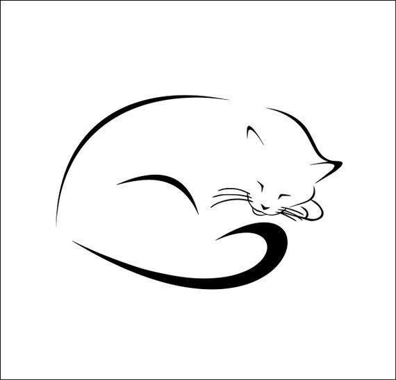 Cute Curled Sleeping Cat File Svg Ai Dxf Eps Png Digital Etsy Cat Tattoo Simple Cat Tattoo Small Cat Silhouette Tattoos