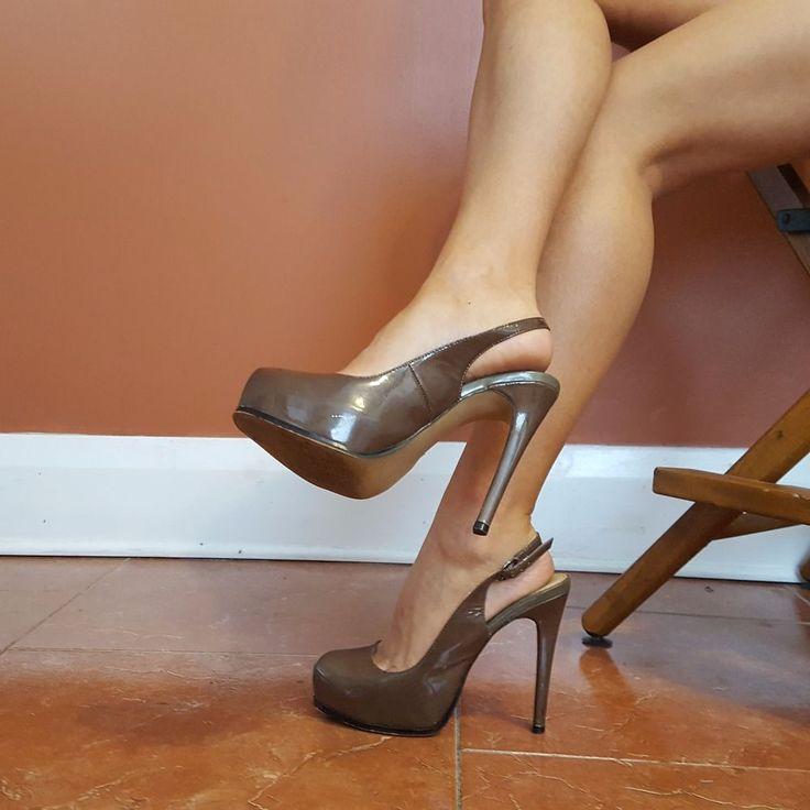 Steve Madden Sz 7.5 M Umber Patent Slingback Platform Stiletto Women's Heels #SteveMadden #PlatformsWedges