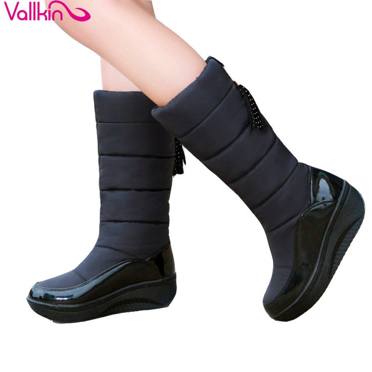 VALLKIN 2018 Comfortable Women Boots Med Heel Mid-calf Boots Slip on Chunky Short Plush Snow Shoes Solid Ladies Shoes Size 35-43 #Affiliate