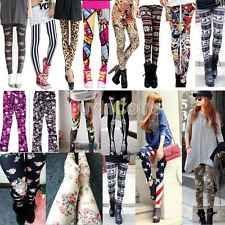Retro Fashion Womens Colorful Pattern Print Leggings Pants 13 Styles