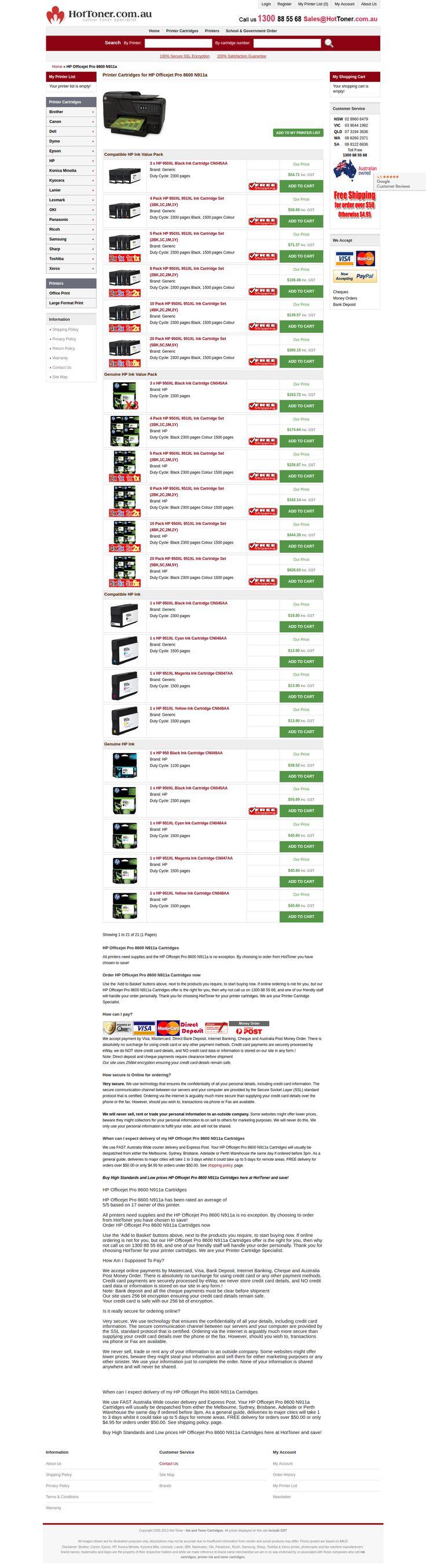Printer Cartridges for HP Officejet Pro 8600 N911a available at Hot Toner  #ink #cartridges #hp #officejet #printer #printing #gadgets #sydney #australia