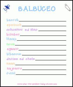 Juegos Para Baby Shower-Printable Baby Shower Games in Spanish