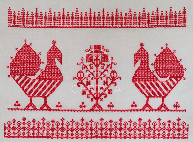 """An old traditional embroidery usually seen at Karelian/orthodox cloths called """"käspaikka""""."""