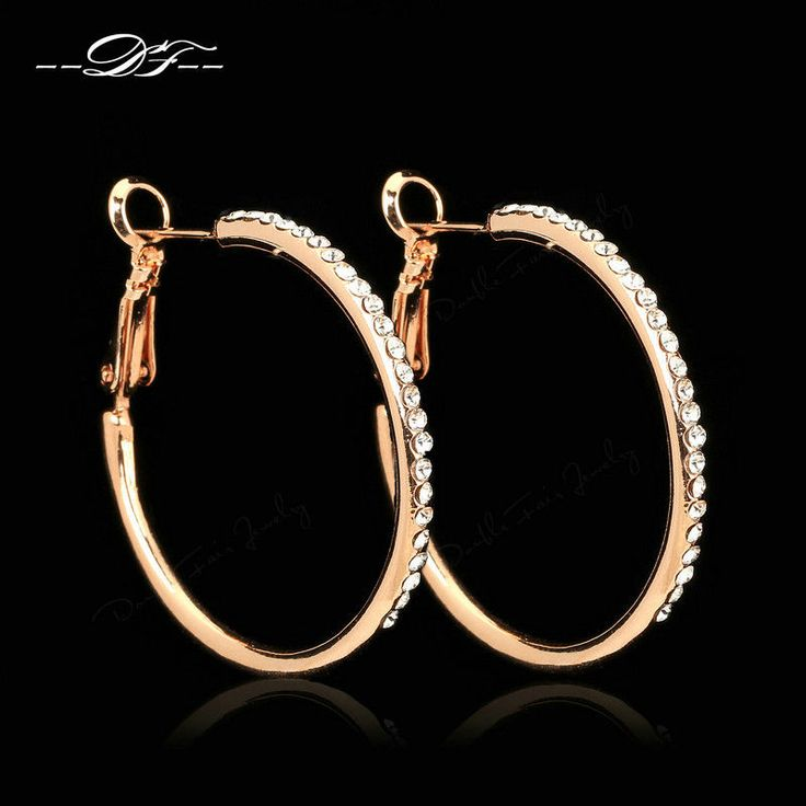 Big Cubic Zirconia Rounds Vintage Hoop Earrings Anti Allergy Fashion Jewelry