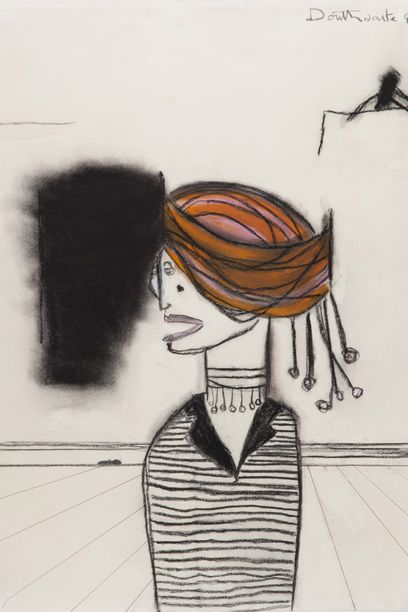 Pat Douthwaite, Woman with a Turban, 1980, charcoal & pastel, 62 x 48 cm