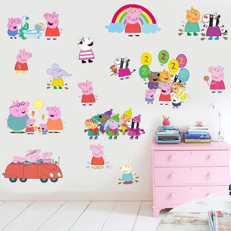 Peppa Pig Removable Wall Stickers Vinyl Decals Baby Kids