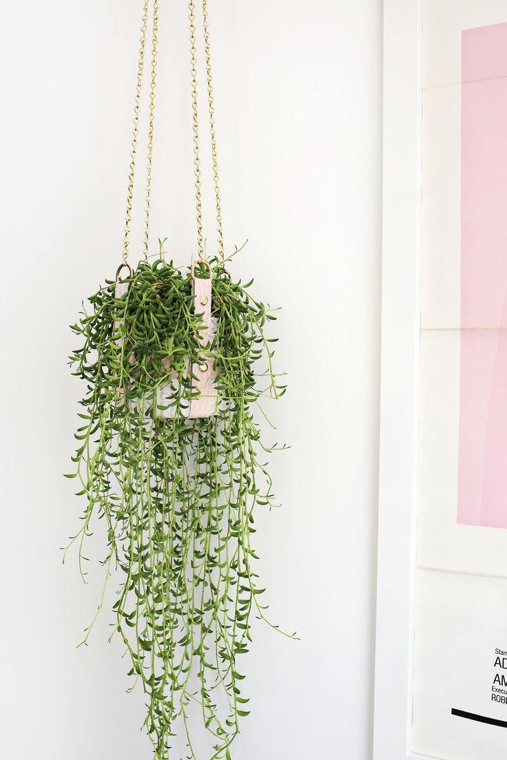 Hanging Leather Strap Planter DIY | A Beautiful Mess | Bloglovin'