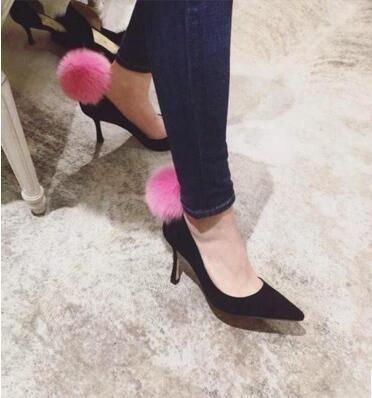 2016 donne point toe pumps con palla di pelo di coniglio partito pompe sottili vino di colore rosso tacchi alti pattini di vestito tallone della signora sexy pelliccia rosa(China (Mainland))