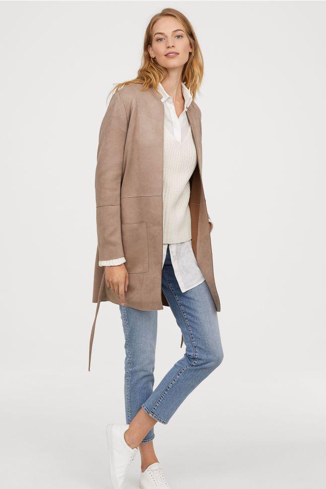 Faux Suede Coat in 2019 | Suede coat, Stylish coat, Long