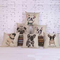 2017 Venta Caliente Almohada Encantadora Funda de Almohada de lino de Algodón Perro de Mascota Bulldog Francés dormitorio/asiento de la silla 18x18 pulgadas Envío Libre