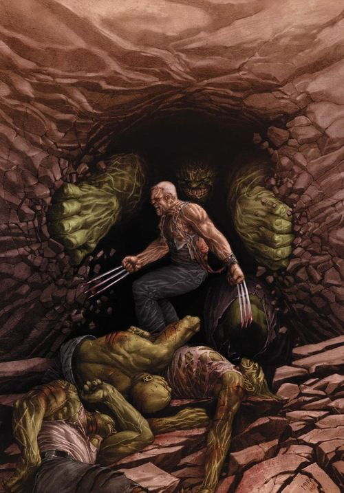 Old Man Logan vs Hulks by Steve McNiven: