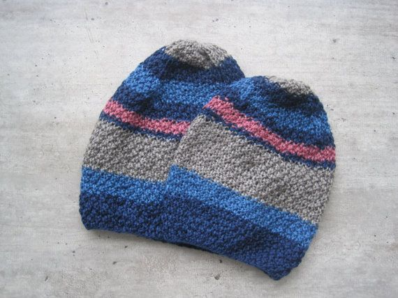 Matching Hats Sibling Hat Set Father and Son Knit by woolpleasure