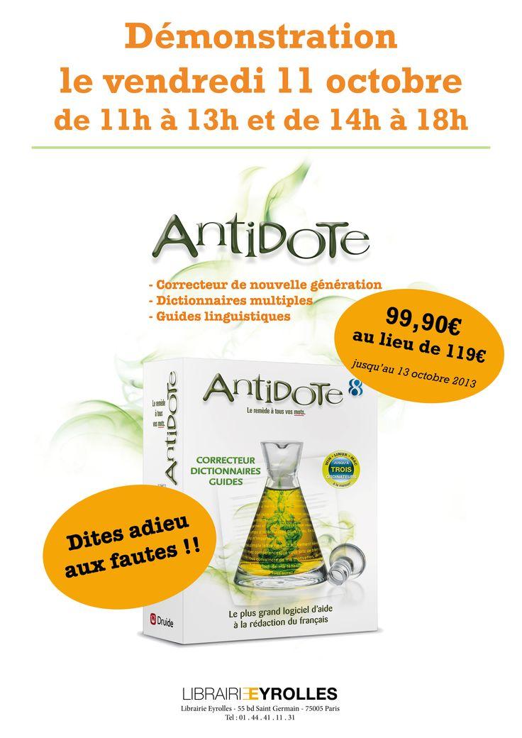 Rayon Informatique / Vendredi 11 octobre 2013 - Démonstration du logiciel Antidote 8, l'assistant indispensable pour bien écrire en français - de 10h à 13h et de 14h à 18h